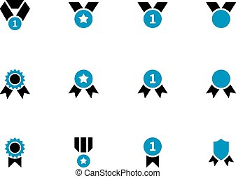 Medal and awards duotone icons on white background Vector...