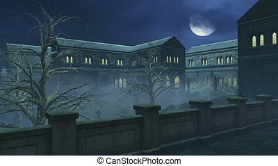 Big half moon above creepy mansion - Night sky with a big...