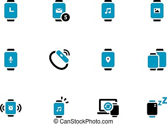 Touch watch duotone icons on white background. Vector...