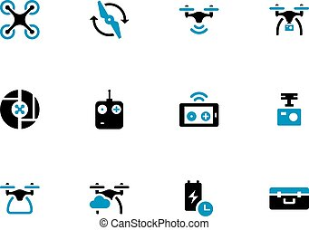 Drone with camera duotone icons on white background. Vector...