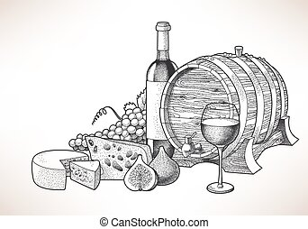 Wine, cheese and figs - Hand drawn illustration of wine,...