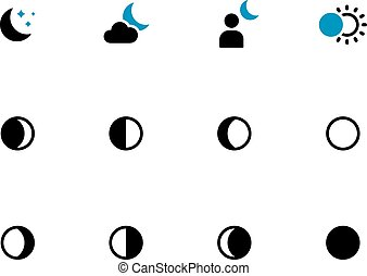 Phases of the moon duotone icons on white background Vector...