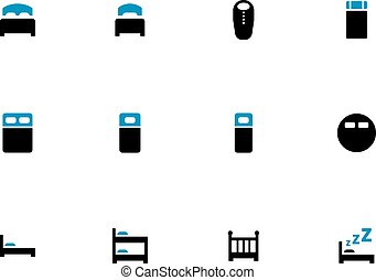 Bed duotone icons on white background. Vector illustration.