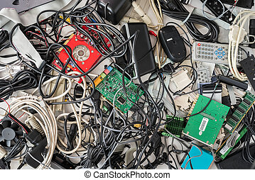 Old Computer Cables and Devices - Pile of Old Computer...
