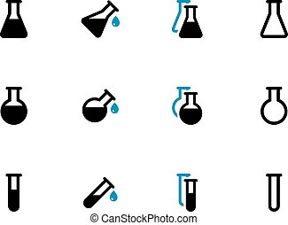 Laboratory glass duotone icons on white background. Vector...