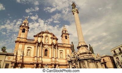 San Domenico square and church cloud time lapse