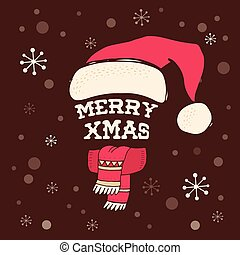 Merry Christmas - Santa's knitted hat with lettering