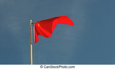 Request China flag in front of a blue sky