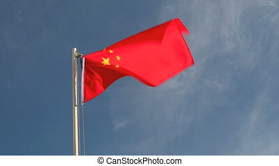 China flag in front of blue sky