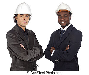 Team of engineers black and caucasian a over white...