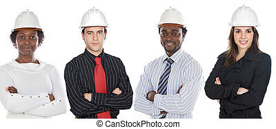 Engineers African-Americans and Caucasians - Team of...