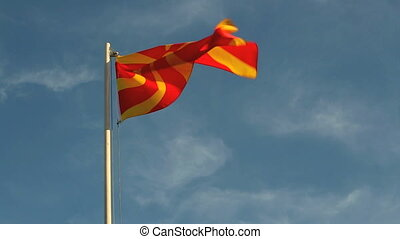 Macedonia flag in front of a blue sky