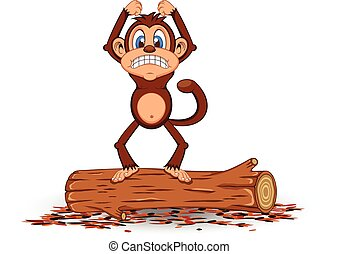 Angry Monkey Cartoon standing