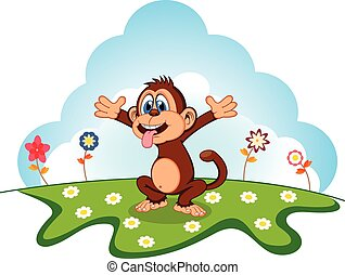 Monkey Cartoon in a garden for your