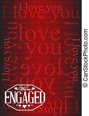 we are engaged stamp I love you background illustration...