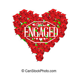 we are engaged sign stamp red roses heart illustration...
