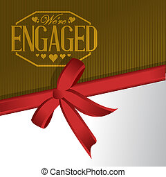 we are engaged sign stamp red ribbon background illustration...
