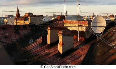 Rooftops of the old center of St. Petersburg, Russia.