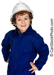 Child with work clothes and white helmet a over white...