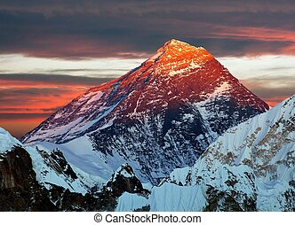 Evening colored view of Mount Everest from Gokyo Ri, Khumbu...