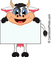 Cow with white board - colourfull