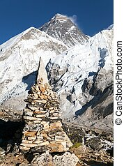 Everest and Nuptse from Kala Patthar - View of Everest and...