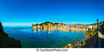 Sestri Levante, silence bay sea and beach panorama. Liguria,...