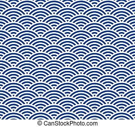 Japanese wave pattern - Blue and dark blue Japanese style...