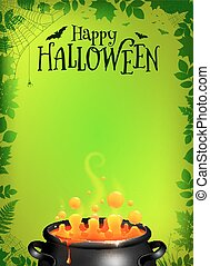 Green Halloween poster template with orange potion in black...