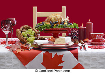 Thanksgiving Table Setting with Roast Turkey on Red White...