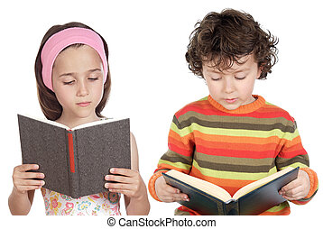 Children reading a book a over white background