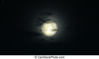big moon in night and clouds