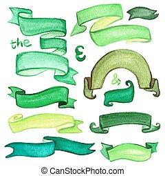 Watercolor retro ribbons set.Green - Watercolor Old ribbon...