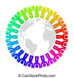 Diverse People Standing Around Earth - People of many colors...