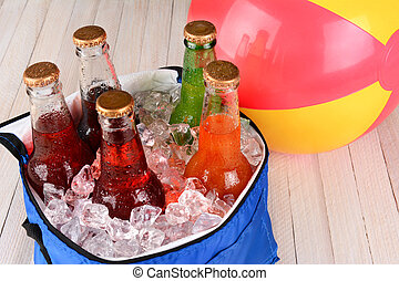 Cooler with Soda and Beachball - Closeup of a cooler with...
