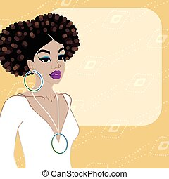 Background with dark-skinned woman - Illustration of a...