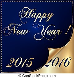 Vector illustration of 2016 new year gold and dark blue...