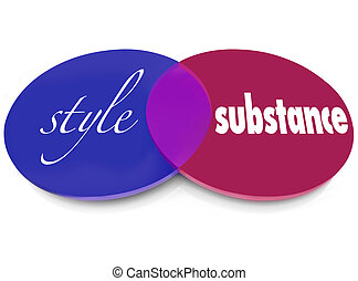 Style Over Substance Venn 2 Words Circles Flash Vs Function...