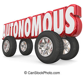 Autonomous 3d Red Word Car Wheels Tires Self Driving Vehicle...