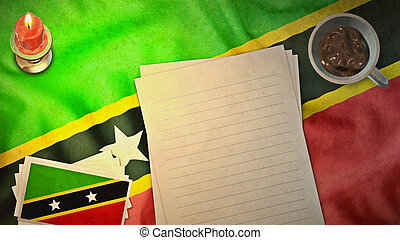 st kitts & nevis flag and paper layout vintage styles