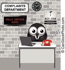 Complaints Department - Comical bird worker in the...