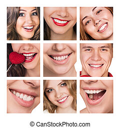 Collage of smiling happy people with healthy teeth