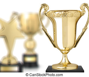 trophies - golden trophies isolated on white background