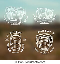 Barrel homebrew emblems in thin line style White print on...