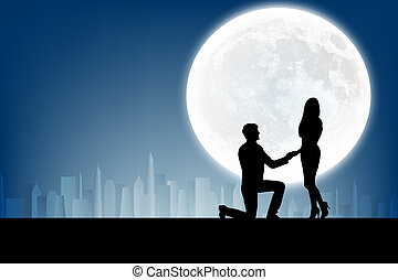 silhouette of man makes a proposal a silhouette woman on the...