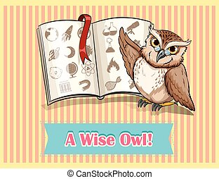 Owl reading science book illustration