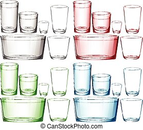 Set of glassware in different colors