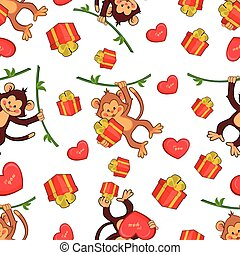 Seamless vector background with fun