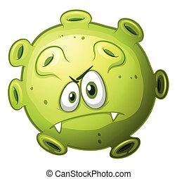 Green bacteria with evil face