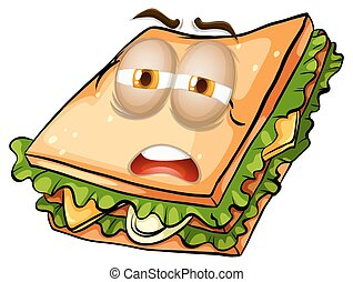 Sandwich with lazy face